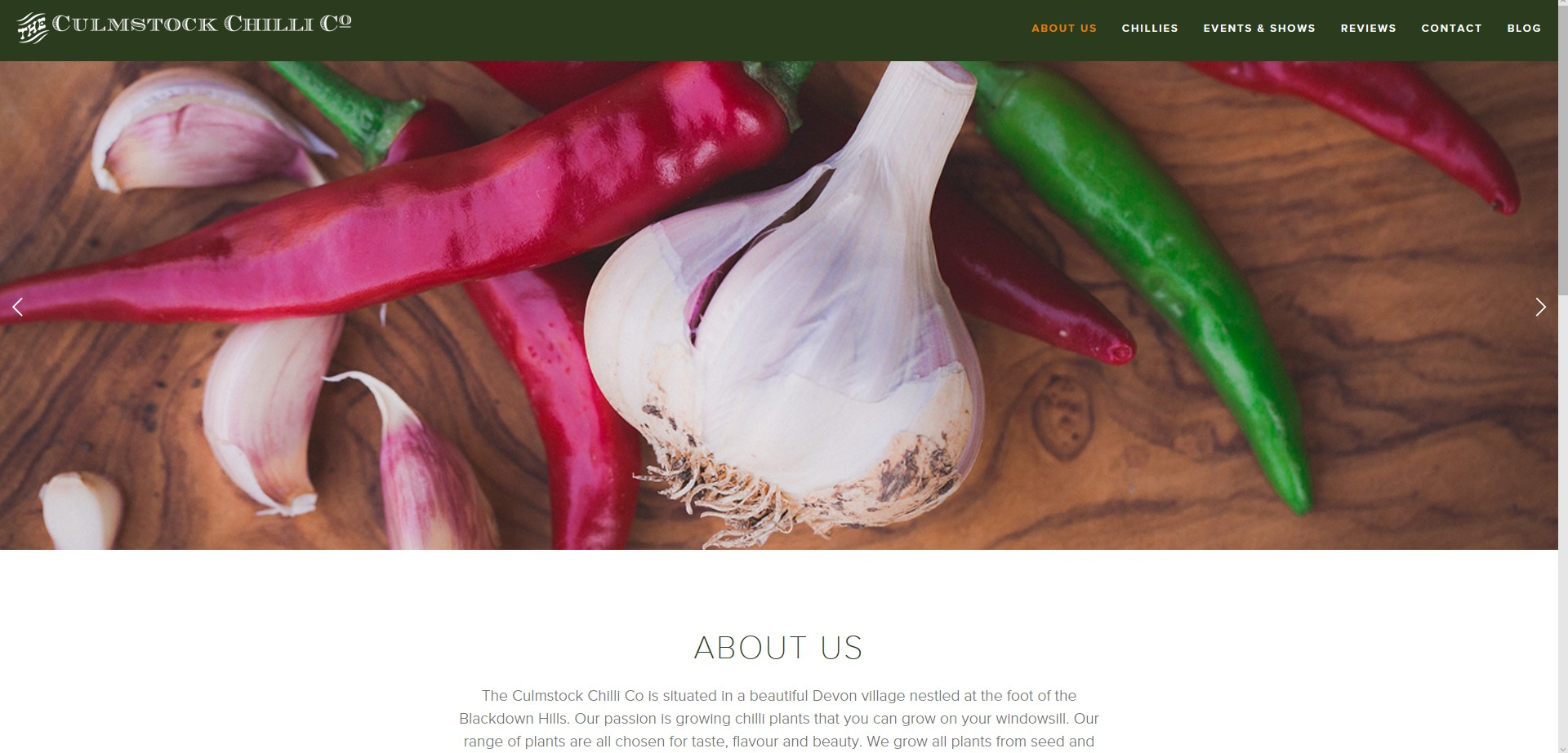 Screen shot of the About Us page on the Culmstock Chilli Co Website, commercial shoot by Perspectives Photography