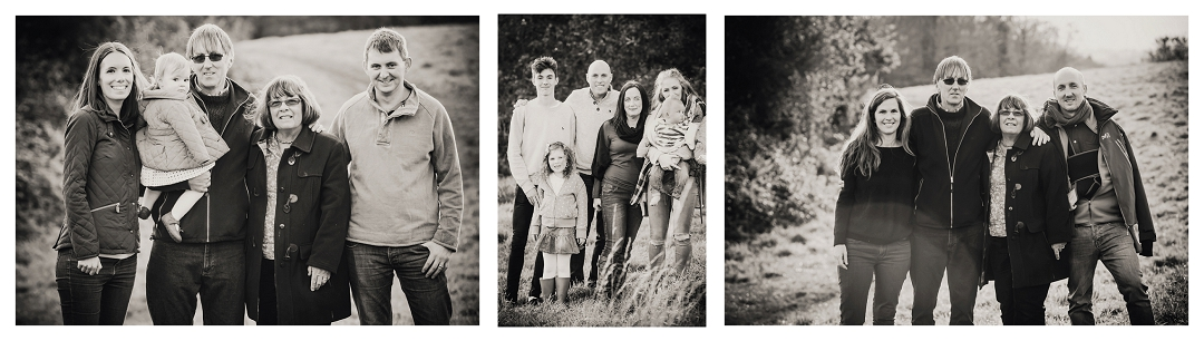 Black and white family group photographs