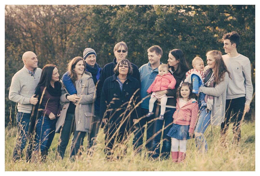 extended family group shot outdoors Devon